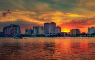West Palm Beach Sunset at Waterway from Flager Museum