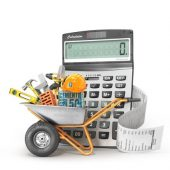 wheelbarrow with tools and calculator_canstockphoto50608411-2
